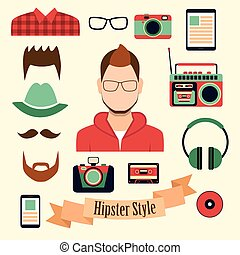 Hipster style with a hipster elements and icons