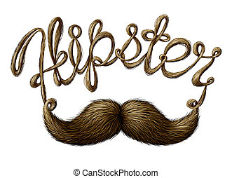 Hipster Symbol - Hipster symbol as a mustache with facial...