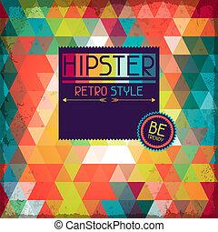 hipster, tło, w, retro, style.