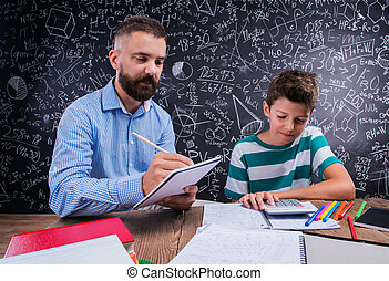 Hipster teacher with his student with calculator, big...
