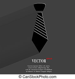 Hipster tie. Flat modern web button with long shadow and space for your text