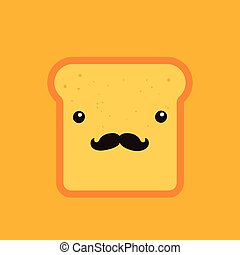 Hipster toast bread Funny Cartoon character with mustache background template