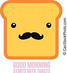 Hipster toast bread Funny Cartoon character with mustache