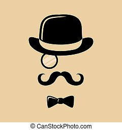 Hipster Top Hat Mustache Bow Tie - Hipster with mustache,...