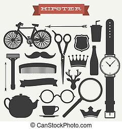 hipster, vecteur, ensemble, icône