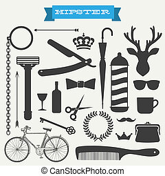 hipster, vector, conjunto, icono