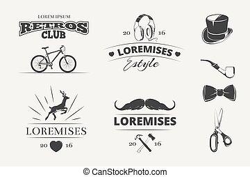 Hipster vector emblems, labels, badges