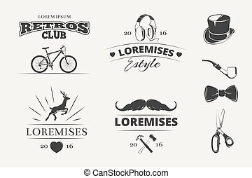 hipster, vector, etiketten, kentekens, emblems