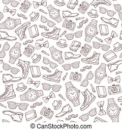 hipster, vector, pattern., seamless
