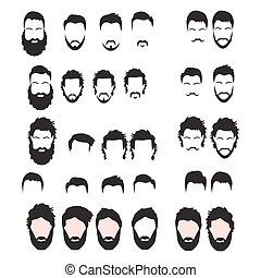 Hipster Vector Set, hair and beards,vector illustration set.