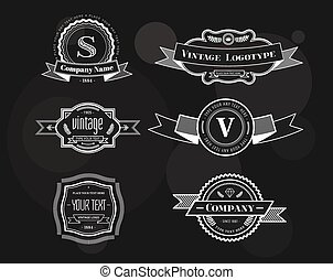 Hipster vector vintage logo elements set