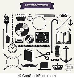 hipster, vektor, sæt, ikon
