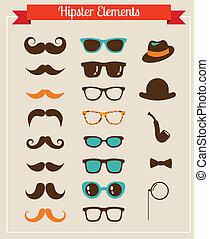 hipster, vendimia, retro, icono, conjunto