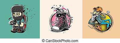 hipster, vetorial, ilustração, caricatura, sneakers., fotógrafo, ou