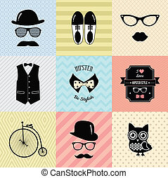Hipster Vintage Cute Fashion Background - Colorful Retro...