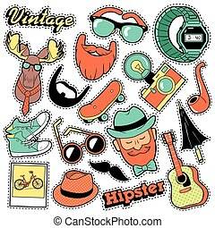 Hipster Vintage Fashion Stickers, Patches, Badges