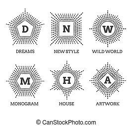 Hipster vintage labels, logo or badges