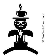 Hipster waiter. Tea cup. Coffee.