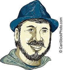 Hipster Wearing Fedora Hat Smiling Drawing - Drawing sketch...
