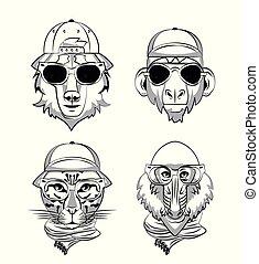 Hipster wild animals cartoon