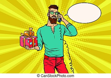 Hipster with a gift of talking on the phone