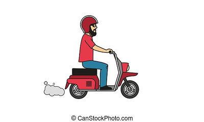 Hipster with beard in red T-shirt and helmet riding a motor...