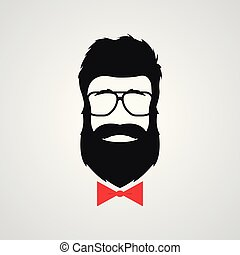 Hipster with beard wearing in retro sunglasses.