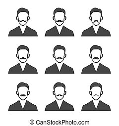 Hipster With Mustache Set on White Background. Vector