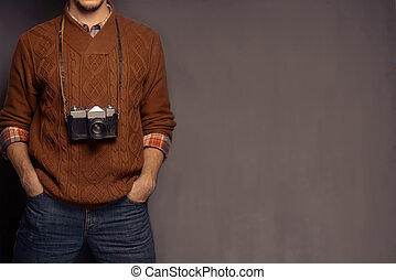 Hipster with old camera