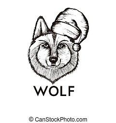 Hipster Wolf Muzzle Wearing Santa Hat Vector Hand Drawn Illustration