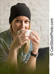 Hipster woman and coffee