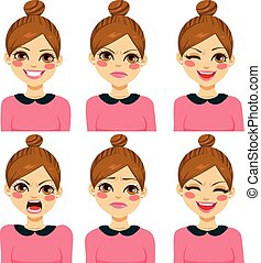 Hipster Woman Different Expressions - Attractive light brown...