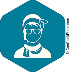 Hipster woman icon, simple style