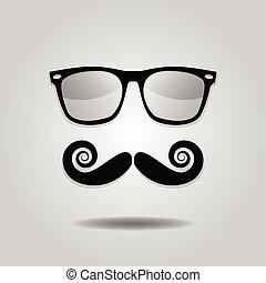 hipster, y, gafas de sol, bigote, iconos