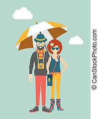 Hipster young couple concept.