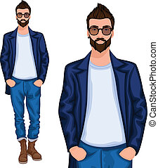 Hipster young guy - Young handsome casually dressed hipster...