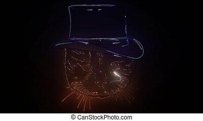 hipster, zabawny, bowtie, brytyjski, kapelusz, kot, monokle,...