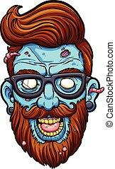 Hipster zombie - Hipster cartoon zombie head. Vector clip...