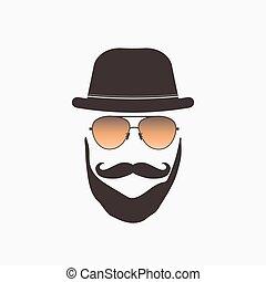hipster, zonnebrillen, illustratie