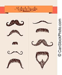 hipsters, éléments, eps10, ensemble, moustaches, file.