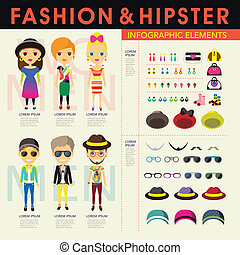 hipster's, 流行, 要素, infographic, 人々