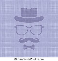 hipster's, chapéu, óculos, bigode