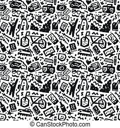 hipsters, cosas, -, seamless, vector, plano de fondo