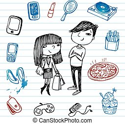 Hipsters doodle set. - Set of hand-drawn images of youth...