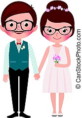 Hipsters Happy bride and groom Stock vector illustration