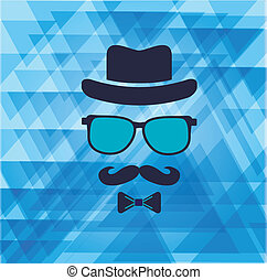 Hipster's hat, glasses, moustache stickers on triangle ...