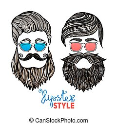 Hipsters heads colored glasses doodle pictograms