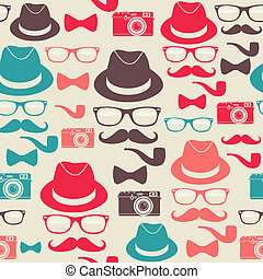 Hipsters seamless pattern - Indie hipster vector seamless...