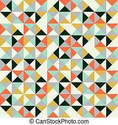 hipsters, triangle, coloré, modèle, seamless, illustration, retro