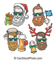 Hipsters with Christmas Accessories